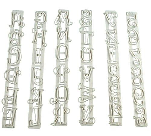 Sunjas 6tlg Alphabet A Z Buchstaben Kunststoff Ausstecher Ausstechform Modellierwerkzeug Set Fondant Torten Marzipan Backen Deko (Ausstecher Lineal)