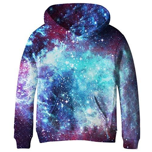 Funnycokid Teenager Pullover Galaxy Pullover Große Taschet Vlies Kapuzenpullover Lässig Sweatshirts Pullover Kapuzenpullover10-12 Jahre