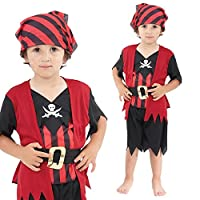 Boys Age 2-3 Years Pirate Costume Toddler Red Pirate Childrens Kids Book Week Fancy Dress