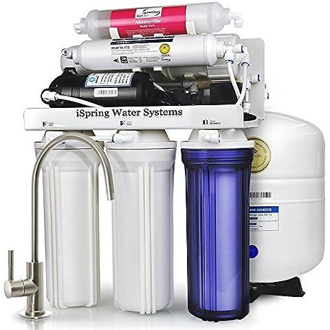 Sistema de filtrado de agua iSpring 75GPD de ósmosis inversa alcalino pH de 6 etapas con bomba potenciadora, modelo