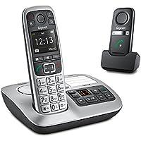 Gigaset E560A PLUS Schnurlostelefon + Freisprech-Clip mit SOS-Funktion - Hausnotruf - Anrufbeantworter / Grosse Tasten Telefon - platin