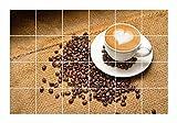 FoLIESEN Fliesenaufkleber für Bad und Küche - Fliesenposter - Motiv- Kaffeegenuss - Fliesengröße 10x10 cm - Fliesenbild 30x20 cm (LxH)