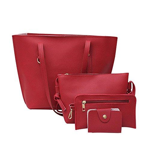 Schultertaschen für Damen Groß Jamicy® 4Pcs Frauen Litchi Muster PU Leder Schultertasche + Umhängetasche + Handtasche + Brieftasche Business Outdoor (Rot) (Canvas Geflochten Handtasche)