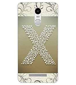 "ColourCraft Alphabet ""X"" Design Back Case Cover for XIAOMI REDMI NOTE 3"
