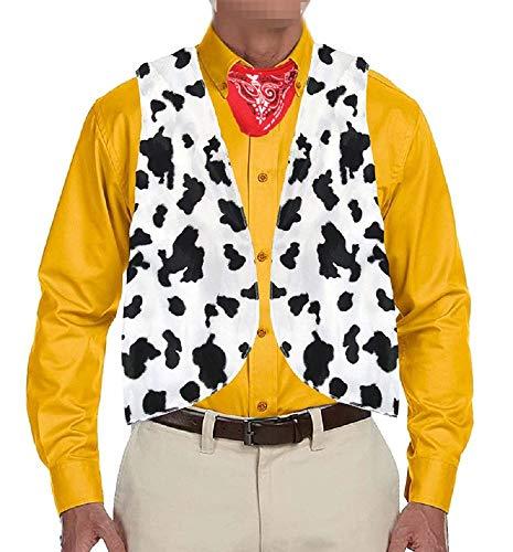 Kuh Kit Kostüm - Hestenve Herren Hippie-Kostüm, Kuhmuster, Vintage-Stil, für Erwachsene - Weiß - Small