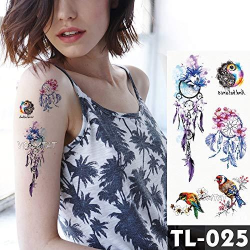 Tzxdbh adesivi per tatuaggio fiore rosa blu piuma acquerello per volpe ragazze petto arte del braccio impermeabile tatuaggi temporanei donne