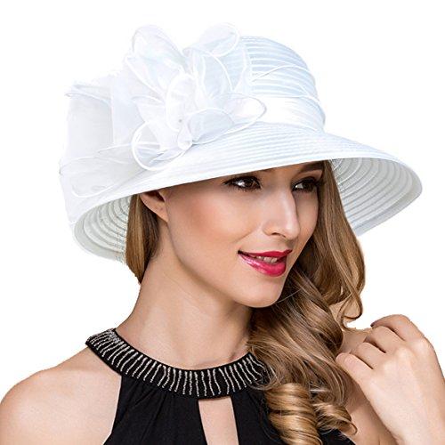 Königliche Ascot Derby Cloche Hüte der Frauen britische Kirchen-Kleid-Tee-Party Eimer Hut S051 (Weiß)