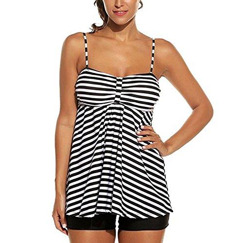 Inlefen costume da bagno tankini 2 pezzi plus size morbido elastico stripes bikini con pantaloncini