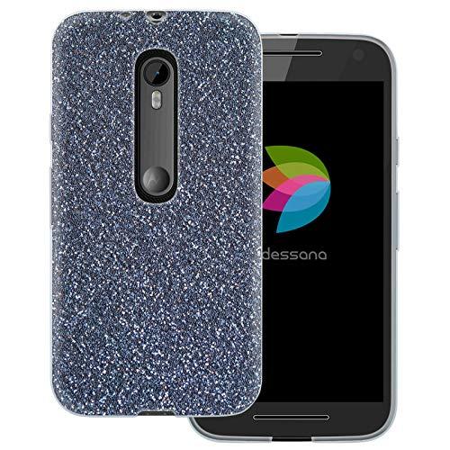 dessana Silber Optik transparente Schutzhülle Handy Case Cover Tasche für Motorola Moto G3 Silber Glitzer (Handy Cover Für G3)
