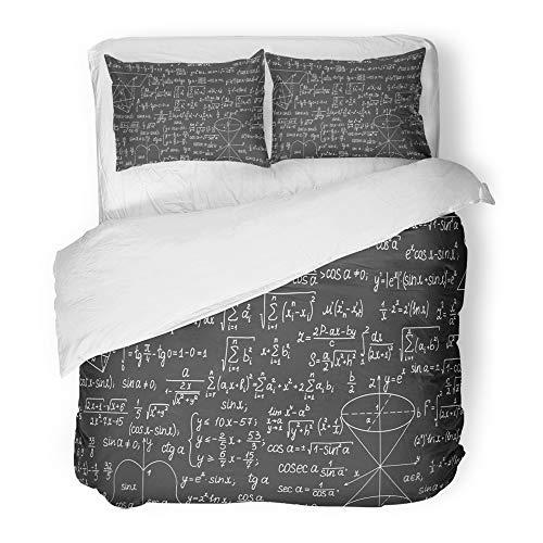 Emvency Bettwäsche-Set Twin (1Bettbezug + 1Kopfkissenbezug) Colorful Mathematische mathematischen Formeln Berechnungen Mathematik Tafel Hotel Qualität Falten schmutzabweisend Full/Queen Beige (Hotel-bettwäsche-full Set)