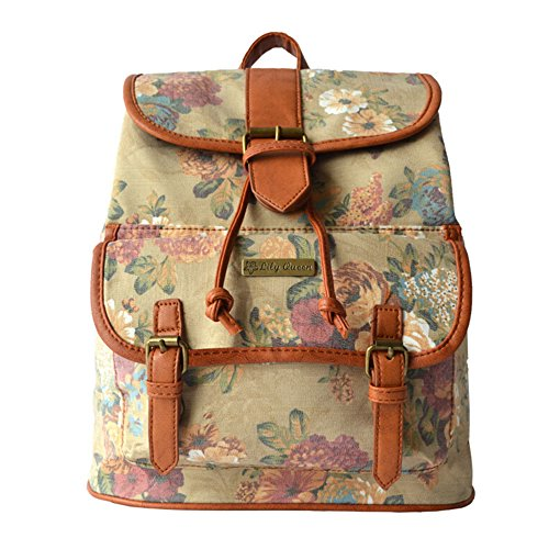 BYD - Donna Female zainetto backpack School Bag Travel Bag Printed Flower Vintage Design with Metal Brand Card and PU Leather Strap Kaki