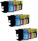 Prestige Cartridge LC1100/LC985 Lot de 12 Cartouches d'encre compatible avec Imprimante Brother DCP-J125 DCP-J315W DCP-J515W MFC-J220 MFC-J265W MFC-J410 MFC-J415W MFC-J515W DCP-145C DCP-163C DCP-165C DCP-167C DCP-185C DCP-195C DCP-197C DCP-365CN DCP-373CW DCP-375CW DCP-377CW DCP-383C DCP-385C DCP-387C DCP-395CN DCP-585CW DCP-6690CN DCP-6690CW DCP-J715W MFC-250C 255CW 257CW 290C 295CN 297C 490CW 5490CN 5890CN 5895CW 6490CW 670CD 670CDW 6890CDW 790CW 795CW 930CDN 990CW J615W, Noir/Cyan/Magenta/Jaune