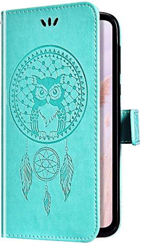 Uposao Cover Compatibile con Samsung Galaxy A5 2016 Cover Libro Wallet Flip Portafoglio Custodia in PU Pelle Goffratura Campanula Sollievo Pattern Caso con Supporto di Stand/Carte Slot/Chiusura,Verde