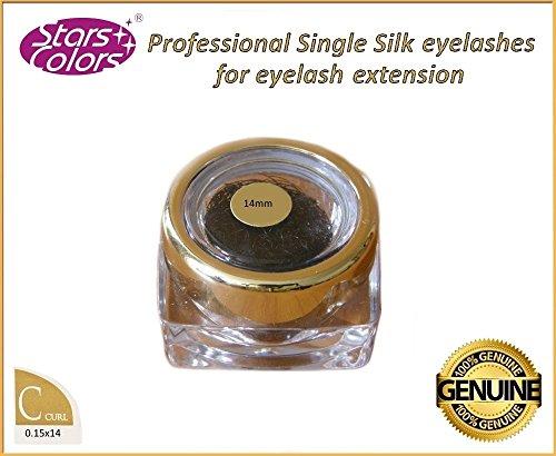 cils en soie - cils de qualité professionnelle, des cils clin styliste alternative C Curl 0,15 mm avec une longueur de 14 mm, les cils de soie de haute qualité pour l'extension des cils! ...