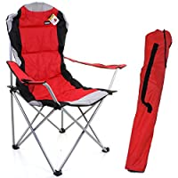 Marko Outdoor Red & Grey Heavy Duty Deluxe Padded Folding steel Camping Chair Festival Directors Fishing 12