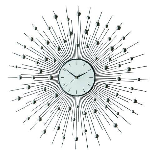 Premier Housewares Horloge murale En forme de soleil Inox 80 cm