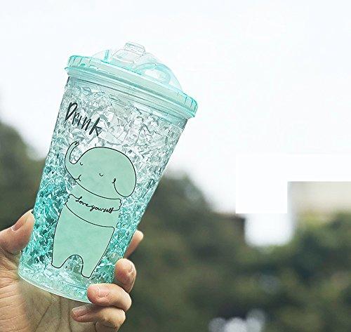 Bebidas heladas Vaso de la taza con tapa y pajitas - Cono de helado de doble pared, copas de batido, tazas de batido, tazas de aguardiente, bebidas heladas Vasos - sin BPA -15 oz, verde