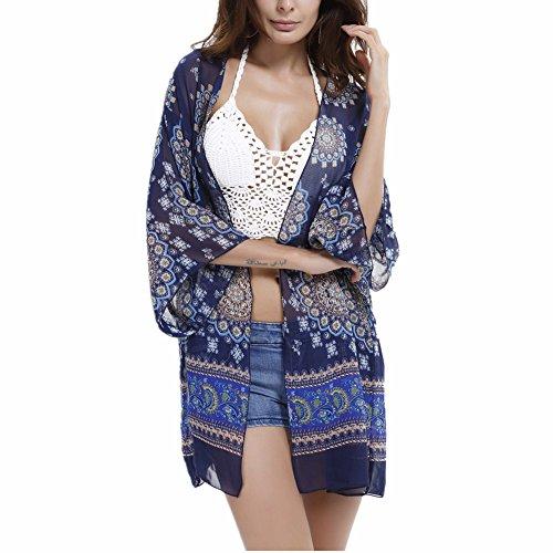 Sommer Boho Chiffon Kimono , Chickwin Chiffon Kimono Cardigan Blumen Bikini Cover up Sommer Swim Bluse Tops Cardigan Blusen Beachwear B