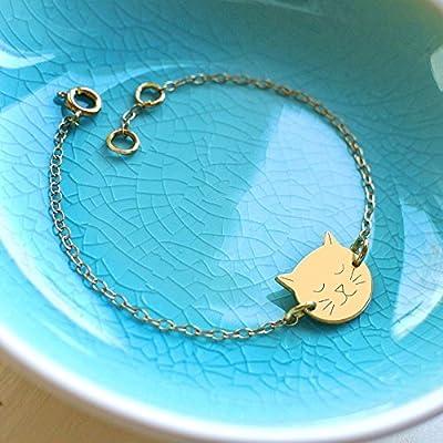 Personnalisé Bracelet en Or avec Visage de Petit Chat, bracelet de chat, cadeau personnalisé, cadeau pour les amoureux des chats, bracelet de chat, cadeau d'anniversaire