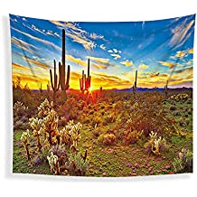 JLA Tapestry, Sunrise And Sunset Wall Hanging, Fitted Living Room Bedroom Corridor Kitchen Decor, Multi-Function Cushion, Beach Towel, Tablecloth, Polyester,A,200X150cm