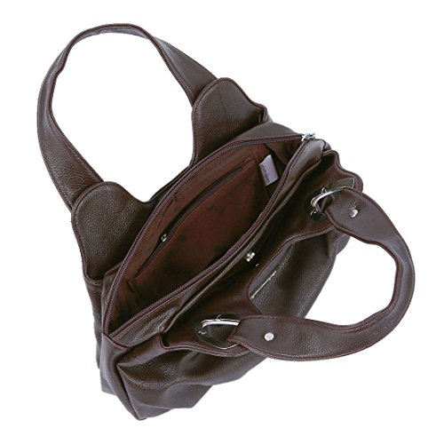 TOOGOO(R) Adatti la borsa di cuoio delle donne PU Bag Tote Bag Borse di stampa Satchel -Dream cartamo + Handstrap bianco Matte Marrone