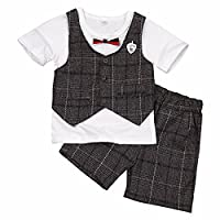 FEESHOW Baby Boys Summer Short Sleeve Plaid Outfits Gentleman Tuxedo Formal Suit Shirt + Short Pants Clothing Set White&Coffee 6-7 Years