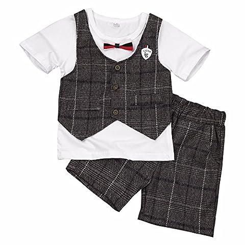 TiaoBug Ensemble Vêtement Bébé Garçon Enfant Gilet Chemise & Pantalon