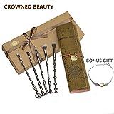 Set di pennelli da trucco, con manico a forma delle bacchette dei maghi, con astuccio vintage in similpelle da arrotolare