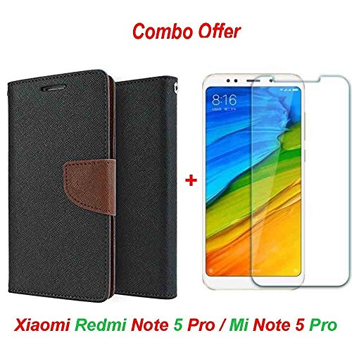Redmi Note 5 Pro Original (COMBO OFFER) Like It Grab It Wallet Style Flip Cover Case for Xiaomi Redmi Note5 Pro (Brown) + Premium Hardness Tempered Glass screen protector (Transparent)