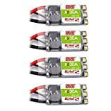Crazepony-UK 4pcs DYS BLHeli_S XS30A 30A ESC 3-6S with Silabs EFM8BB2 Oneshot42 Multishot and Damped Light for FPV Racing Drone