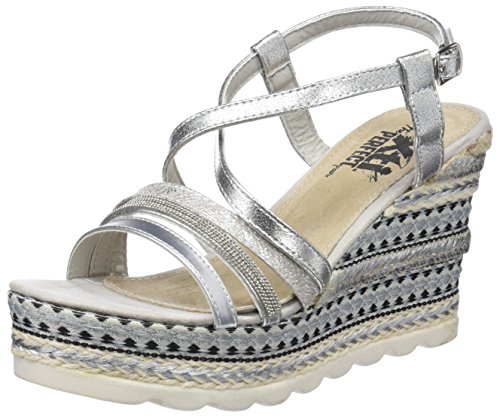 XTI 47776 Sandali con Cinturino alla Caviglia Donna, Argento (Platinium) 40 EU