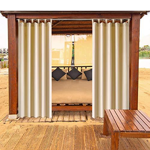 HGmart Outdoor Vorhang-Panel für Veranda Terrasse , Sichtschutz Tuch Klettverschluss Fenster Vorhang mit UV-Ray geschützt und wasserdicht , einfach zu Hängen auf 127x 243,8cm beige (104 Outdoor Vorhänge)