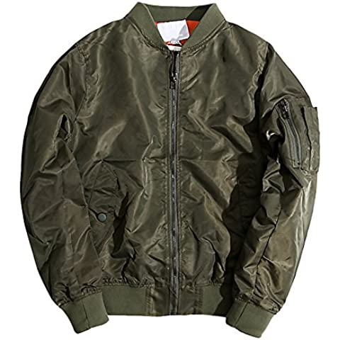 Giacca Uomo Donna Unisex Flight Jacket con imbottitura cottone Volo a Vento Navy Baseball Pesante