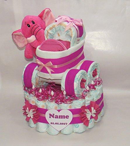 Pañales para tartas-Pañales Pañales para tartas con cochecito XL de neumáticos + Elefante-En 4Colores diferentes rosa