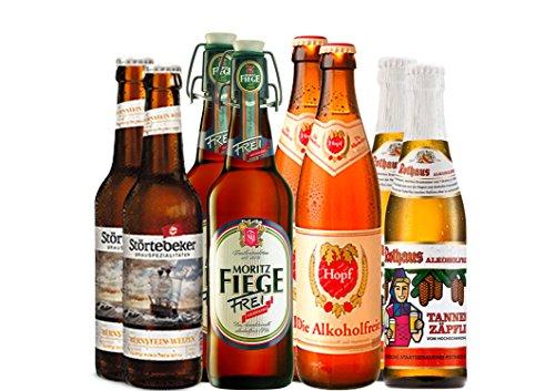Alkoholfreies Bier Paket mit 8 Bierflaschen - Rothaus Alkoholfrei Tannenzäpfle + Störtebeker Bernstein-Weizen Alkoholfrei + Hopf Die Alkoholfreie + Moritz Fiege Frei Alkoholfrei - deutsche alkoholfreie Biere
