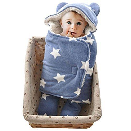 Süße Kleidung Jungs (Baby Schlafsack, Fleece, blau mit Sternen, Plüschdecke, mit Ohren, Kuscheldecke, Neugeborene, Kleinkind, weich, sehr süß, Jungen, Mädchen)