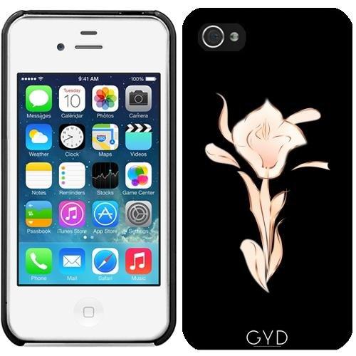 Leder Flip Case Tasche Hülle für Apple iPhone 5/5S - Roségold Schwarz Abstrakte Lilie by Nina Baydur Starre Kunststoff