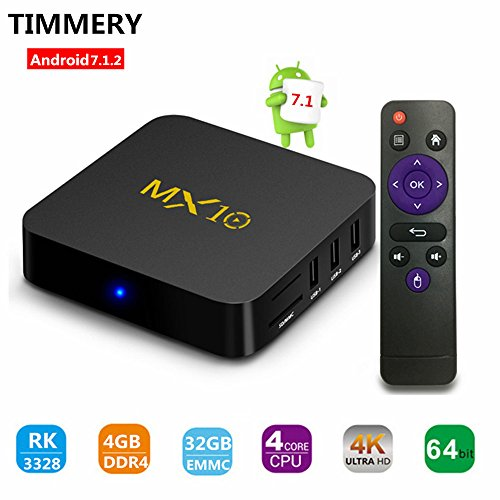 TV Box, MX10 Smart 4K TV Box Android 7.1.2 RK3328 Quad Core 4GB DDR4 32GB Wifi Set Top Boxes Support 3D 4K Ultra HD TV