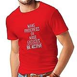 Maglietta da Uomo Be Active - Vivere Senza Scuse - Motivazione - Citazioni quotidiane di Ispirazione per Il Successo (Large Rosso Bianco)