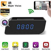 Showyun WiFi Reloj Despertador con Cámara Espía Oculta, Cámara Inalámbrica 1080P Mini DVR Videocámara Alarma