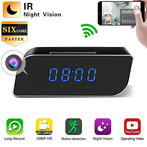 Showyun WiFi Reloj Despertador con Cámara Espía Oculta, Cámara Inal