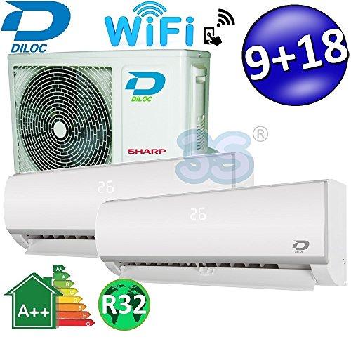 Climatizzatore inverter dual split FROZEN R32 9000+18000 Btu DILOC classe A++/A+ funzione smart WIFI