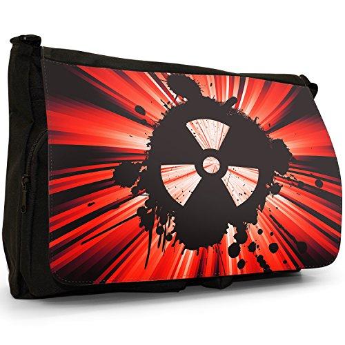 Radio Active, motivo: simbolo di pericolo nucleare, colore: nero, Borsa Messenger-Borsa a tracolla in tela, borsa per Laptop, scuola Nero (rosso)