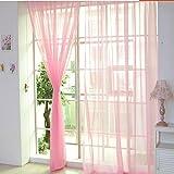 Notdark 1 Stück Transparente Einfarbige Vorhang Gardine Sheer aus Voile, Viele Attraktive Farben, 200x100 (200cm x 100cm, Rosa)