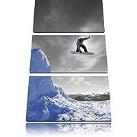 Snowboard jump, sport estremi bianco / nero 3 pezzi picture tela 120x80 immagine sulla tela, (Estrema Svizzera)