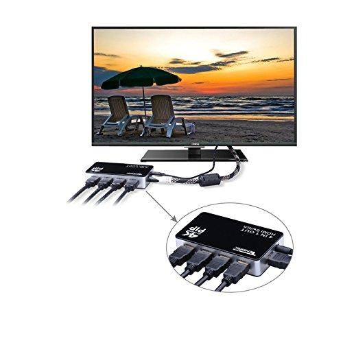 Tendak 4Kx2K4 Anschlüsse High-Speed HDMI Switcher Selector (4in1Out) mit Fernbedienung Unterstützt 1080P 3D PIP Automatik Schalter für Xbox/PS3/Apple TV/Roku/FireTV/Blu-Ray Player - 4