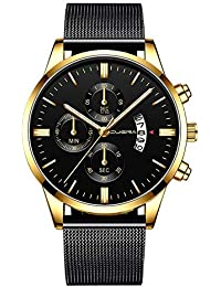 MISSWongg_Reloj Reloj Acero Inoxidable, análogo de Cuarzo de Moda para Hombre Correa de Malla con