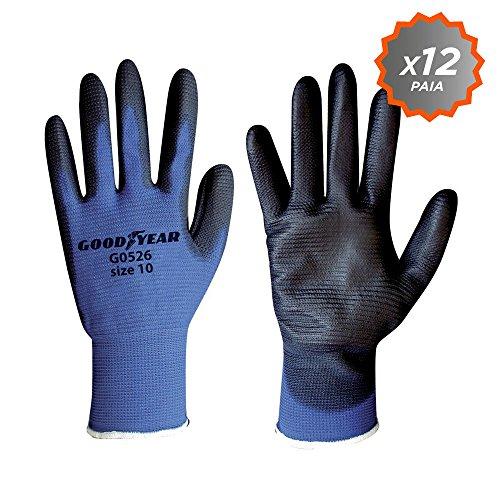 guanti da lavoro goodyear Confezione da 12 guanti da giardinaggio in filato di nylon elasticizzato Goodyear con tessuto a nido d ape dorso aerato e palmo ricoperto in PU ruvido taglia 10
