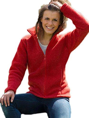 Damen Fleece Jacke, 100% Schurwolle, Engel Natur, Gr. 34/36 - 46/48, 2 Farben Cranberry Melange