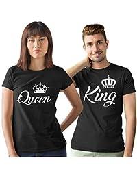 Pack de 2 Camisetas Negras para Parejas King y Queen Corona Blanca 71b24a743a4
